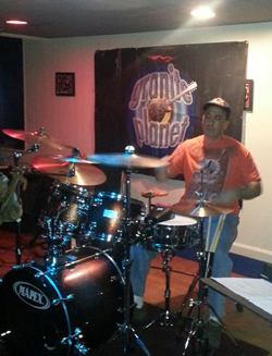 Rob's first night drumming with GP